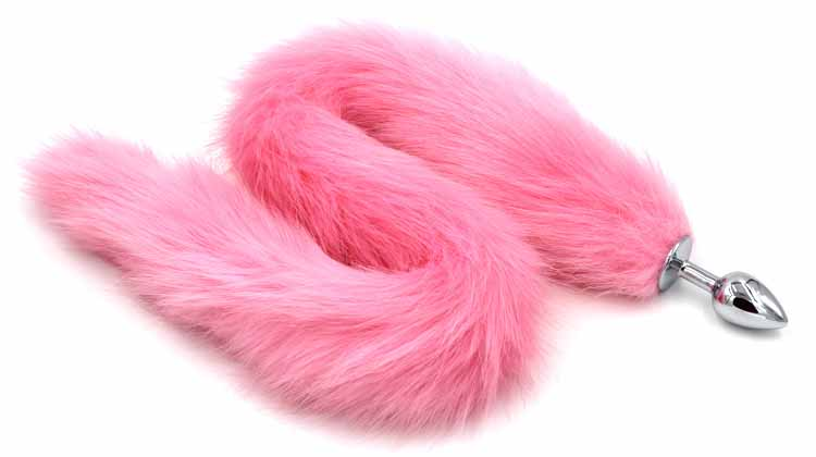 70 cm long fox tail with stainless steel silver anal plug